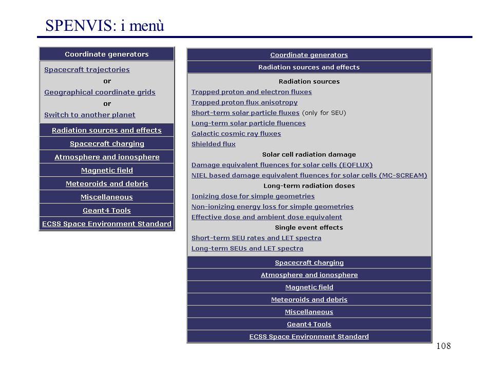 108 SPENVIS: i menù