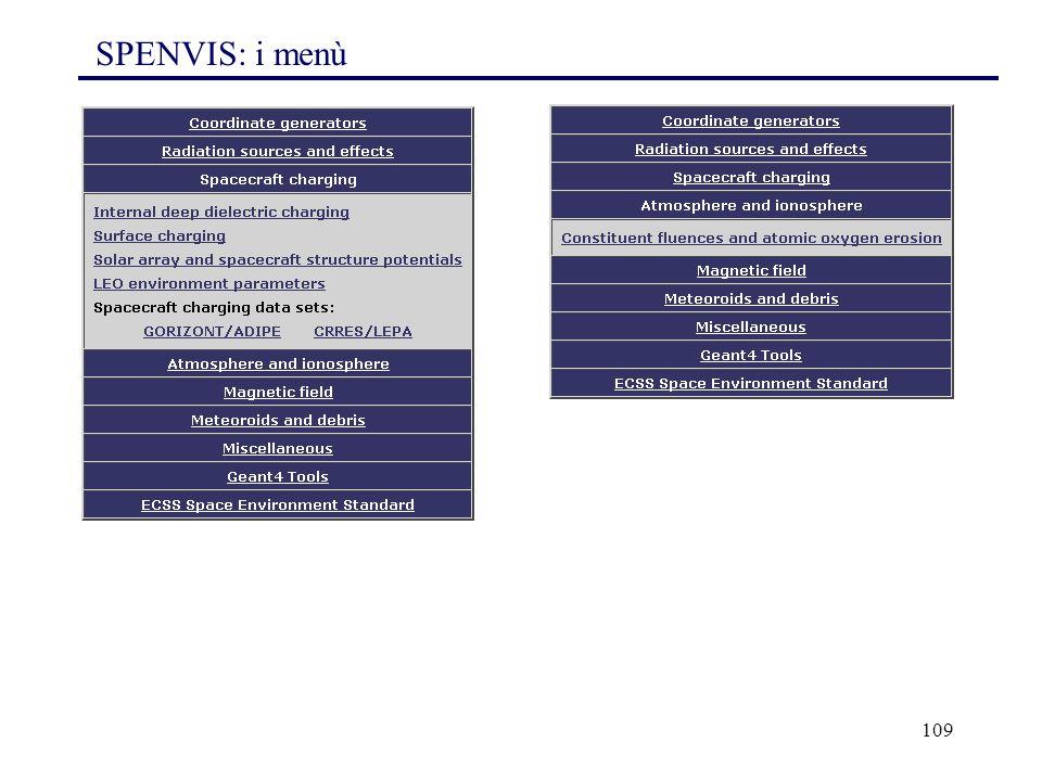 109 SPENVIS: i menù