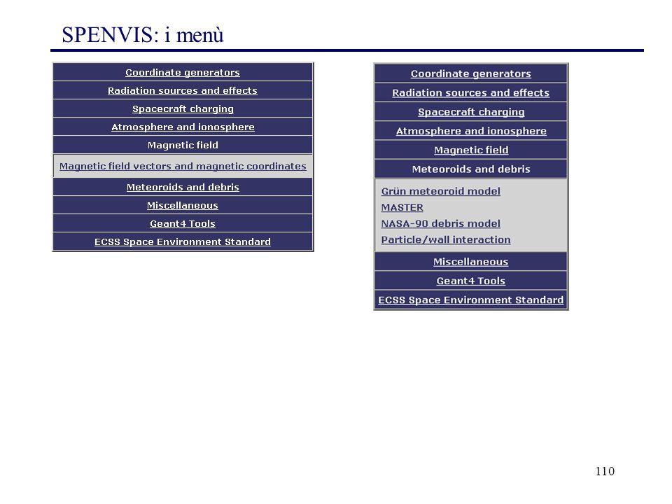 110 SPENVIS: i menù