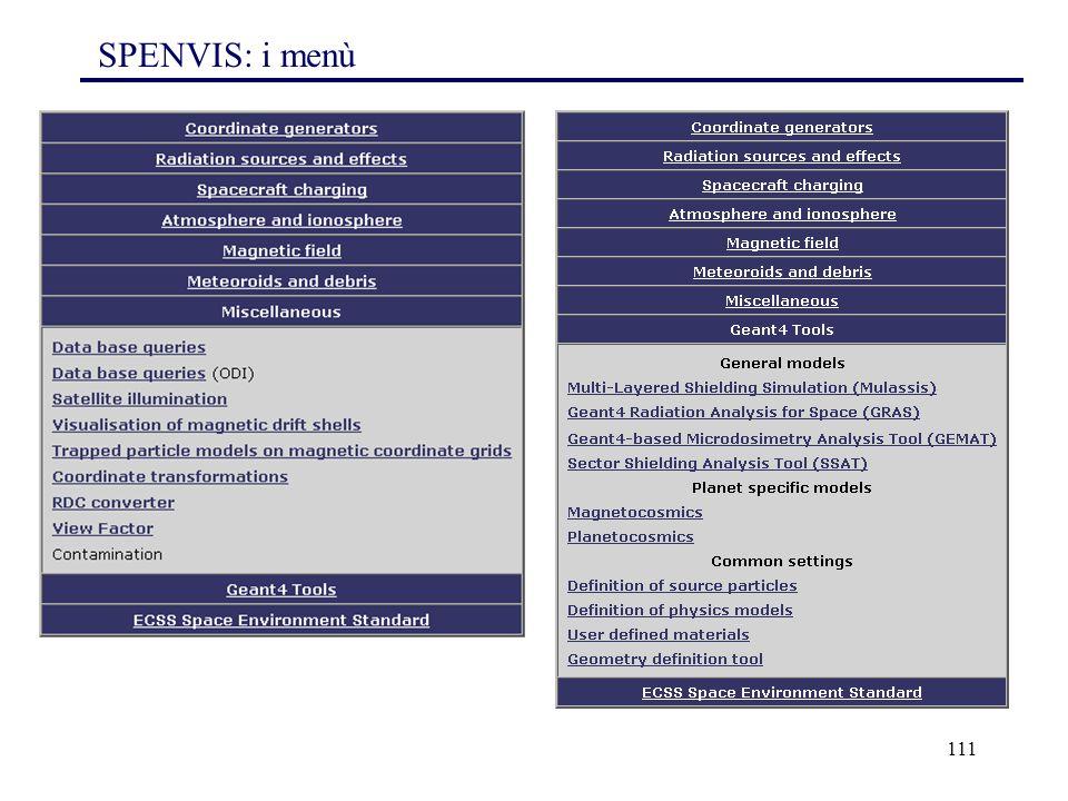 111 SPENVIS: i menù