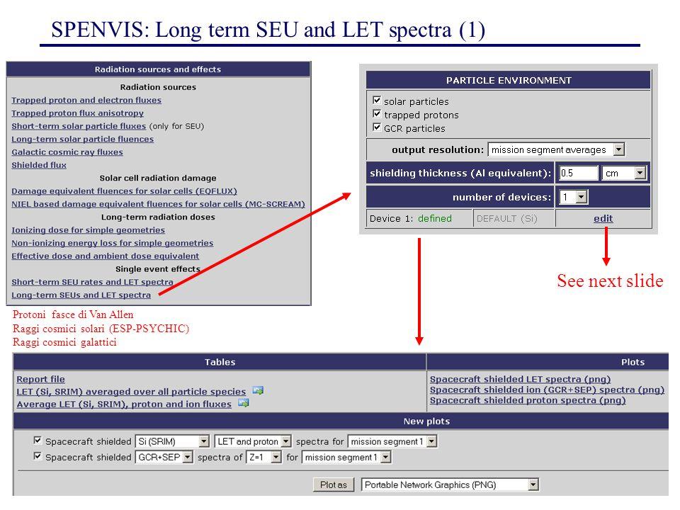 150 SPENVIS: Long term SEU and LET spectra (1) See next slide Protoni fasce di Van Allen Raggi cosmici solari (ESP-PSYCHIC) Raggi cosmici galattici