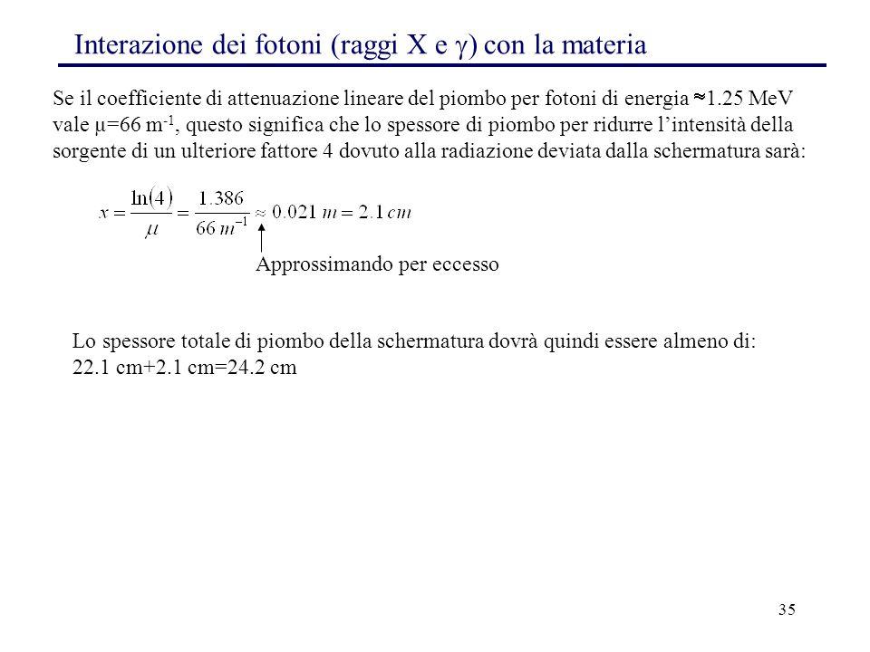 35 Se il coefficiente di attenuazione lineare del piombo per fotoni di energia  1.25 MeV vale µ=66 m -1, questo significa che lo spessore di piombo per ridurre l'intensità della sorgente di un ulteriore fattore 4 dovuto alla radiazione deviata dalla schermatura sarà: Approssimando per eccesso Lo spessore totale di piombo della schermatura dovrà quindi essere almeno di: 22.1 cm+2.1 cm=24.2 cm Interazione dei fotoni (raggi X e  ) con la materia