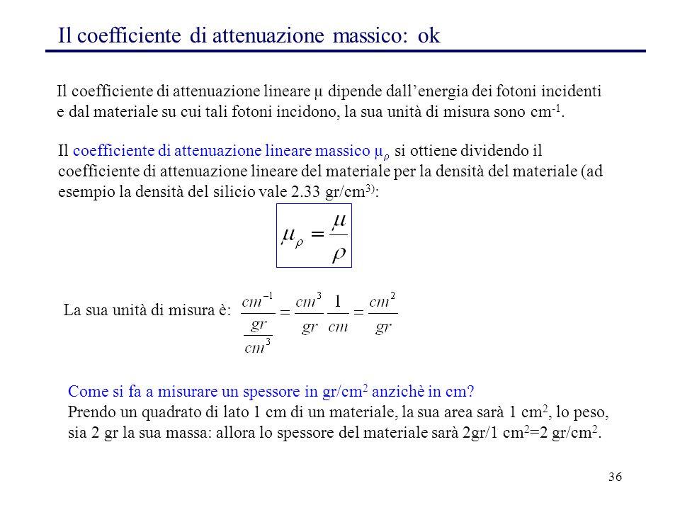 36 Il coefficiente di attenuazione massico: ok Il coefficiente di attenuazione lineare µ dipende dall'energia dei fotoni incidenti e dal materiale su