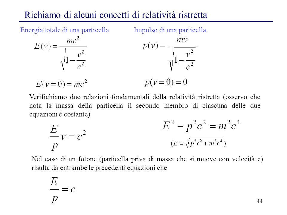 44 Richiamo di alcuni concetti di relatività ristretta Verifichiamo due relazioni fondamentali della relatività ristretta (osservo che nota la massa d