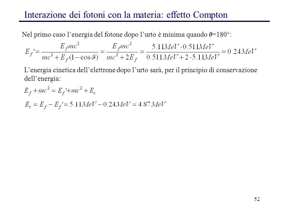 52 Nel primo caso l'energia del fotone dopo l'urto è minima quando  =180°: Interazione dei fotoni con la materia: effetto Compton L'energia cinetica dell'elettrone dopo l'urto sarà, per il principio di conservazione dell'energia: