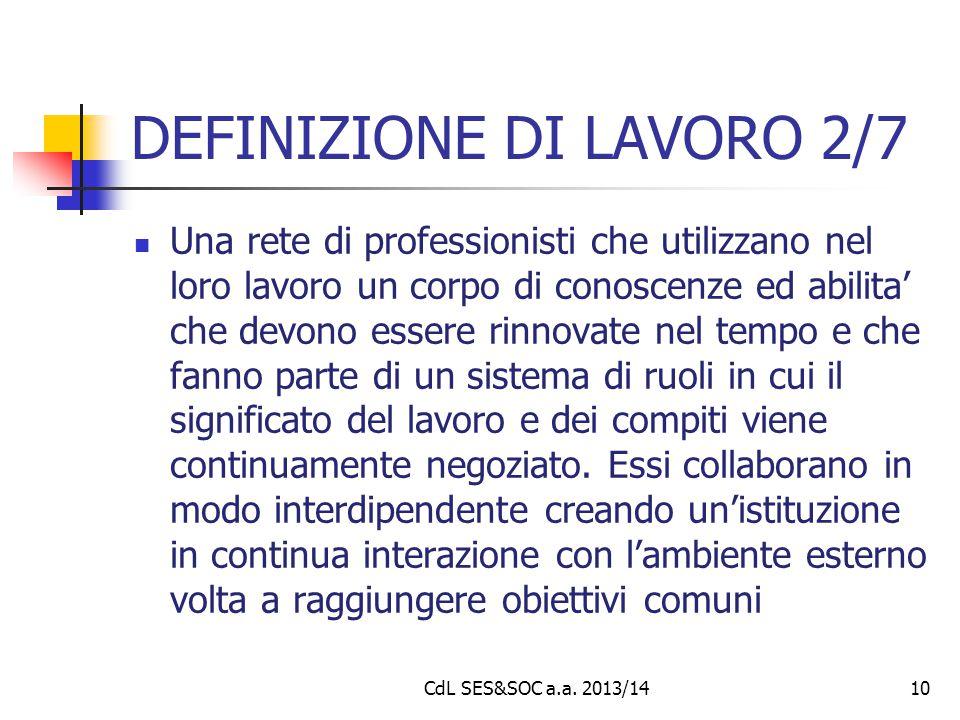 DEFINIZIONE DI LAVORO 2/7 Una rete di professionisti che utilizzano nel loro lavoro un corpo di conoscenze ed abilita' che devono essere rinnovate nel