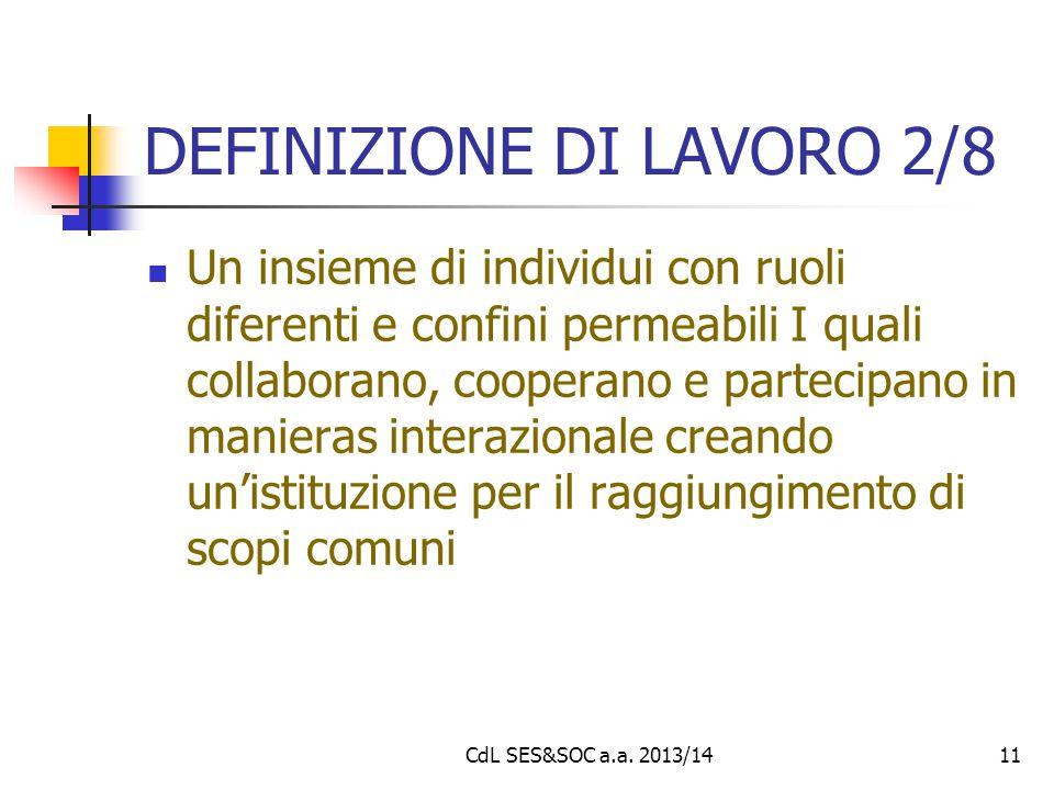DEFINIZIONE DI LAVORO 2/8 Un insieme di individui con ruoli diferenti e confini permeabili I quali collaborano, cooperano e partecipano in manieras in