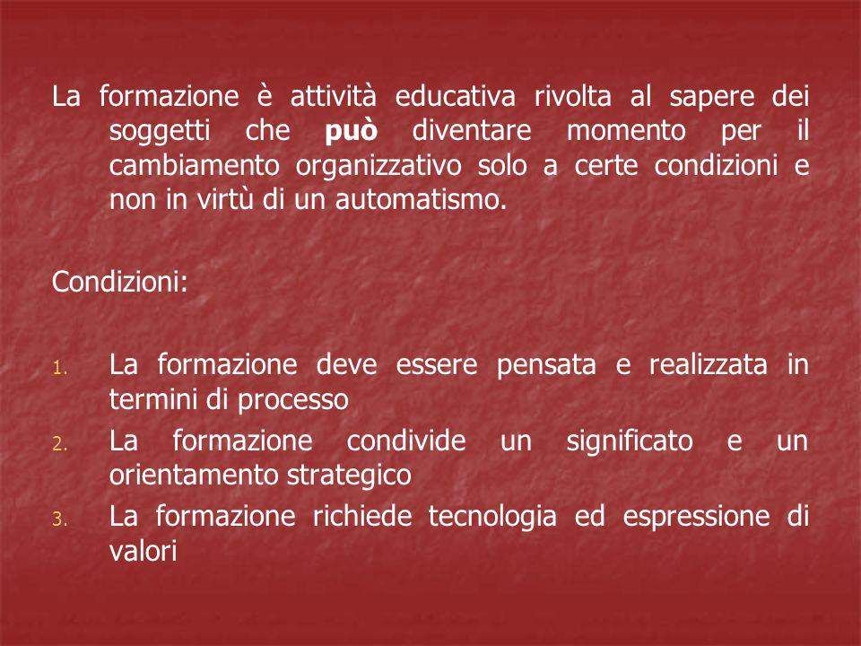 La formazione è attività educativa rivolta al sapere dei soggetti che può diventare momento per il cambiamento organizzativo solo a certe condizioni e non in virtù di un automatismo.