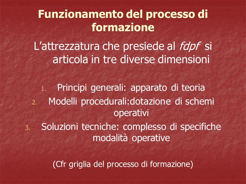 Funzionamento del processo di formazione L'attrezzatura che presiede al fdpf si articola in tre diverse dimensioni 1.