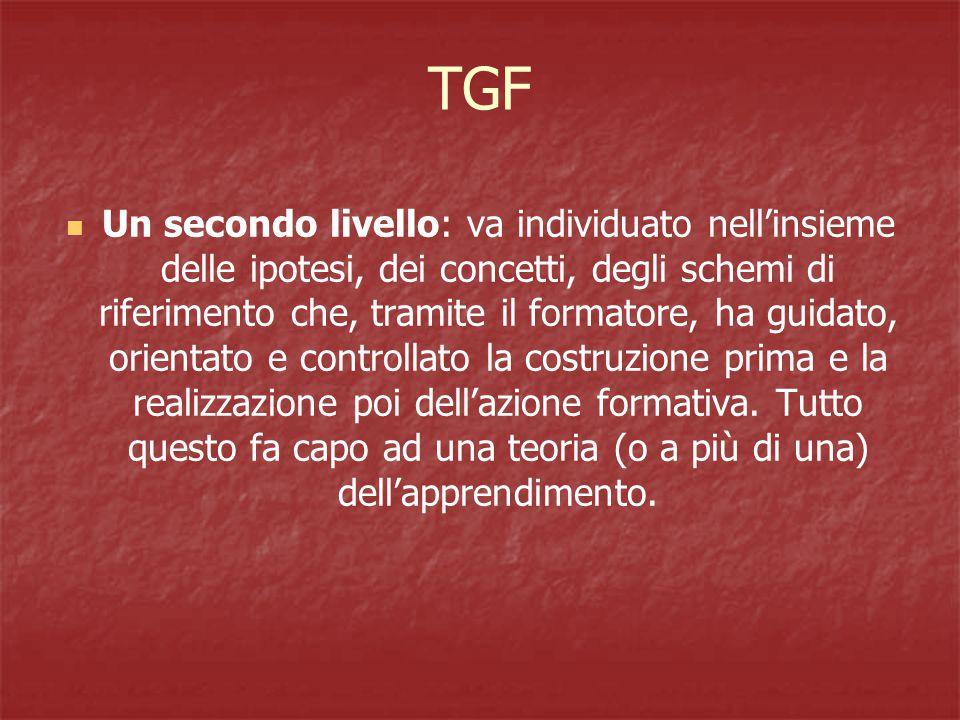 TGF Un secondo livello: va individuato nell'insieme delle ipotesi, dei concetti, degli schemi di riferimento che, tramite il formatore, ha guidato, orientato e controllato la costruzione prima e la realizzazione poi dell'azione formativa.