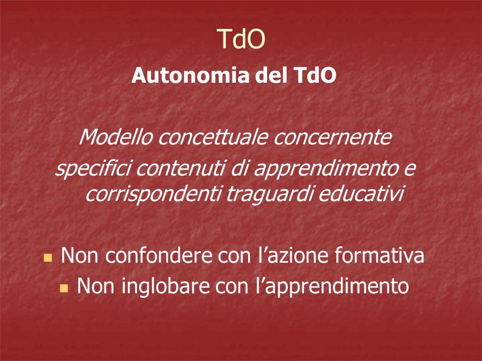 Autonomia del TdO Modello concettuale concernente specifici contenuti di apprendimento e corrispondenti traguardi educativi Non confondere con l'azione formativa Non inglobare con l'apprendimento