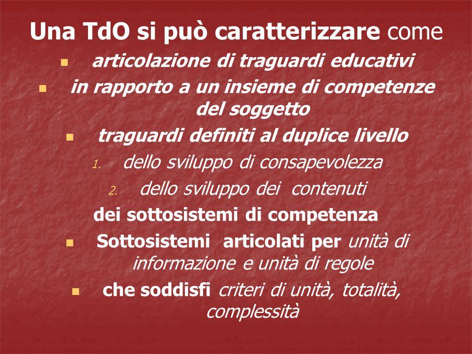 Una TdO si può caratterizzare come articolazione di traguardi educativi in rapporto a un insieme di competenze del soggetto traguardi definiti al duplice livello 1.