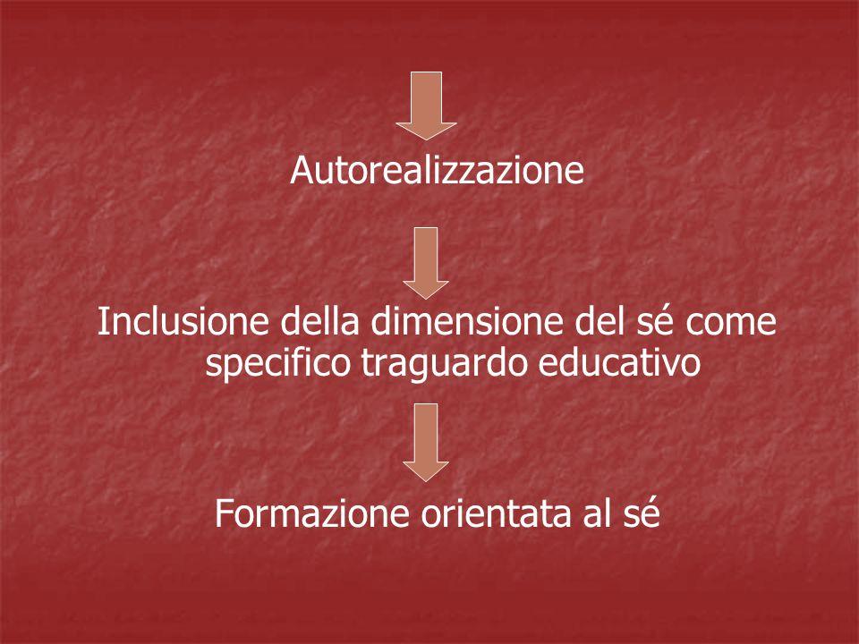 Autorealizzazione Inclusione della dimensione del sé come specifico traguardo educativo Formazione orientata al sé