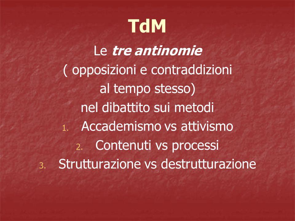 TdM Le tre antinomie ( opposizioni e contraddizioni al tempo stesso) nel dibattito sui metodi 1.