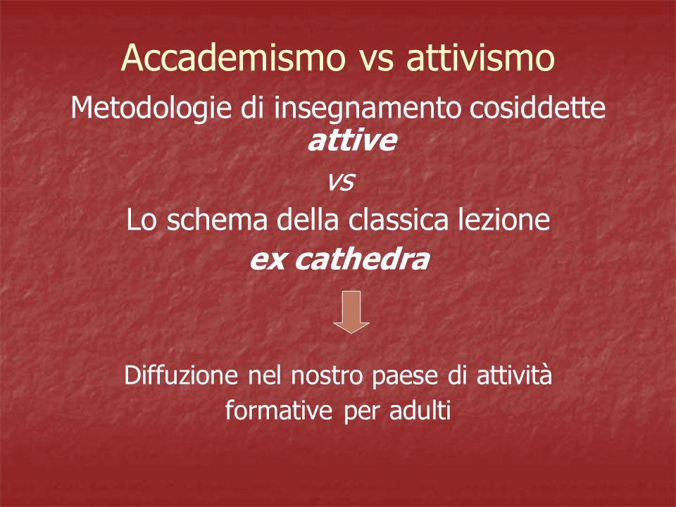 Accademismo vs attivismo Metodologie di insegnamento cosiddette attive vs Lo schema della classica lezione ex cathedra Diffuzione nel nostro paese di attività formative per adulti
