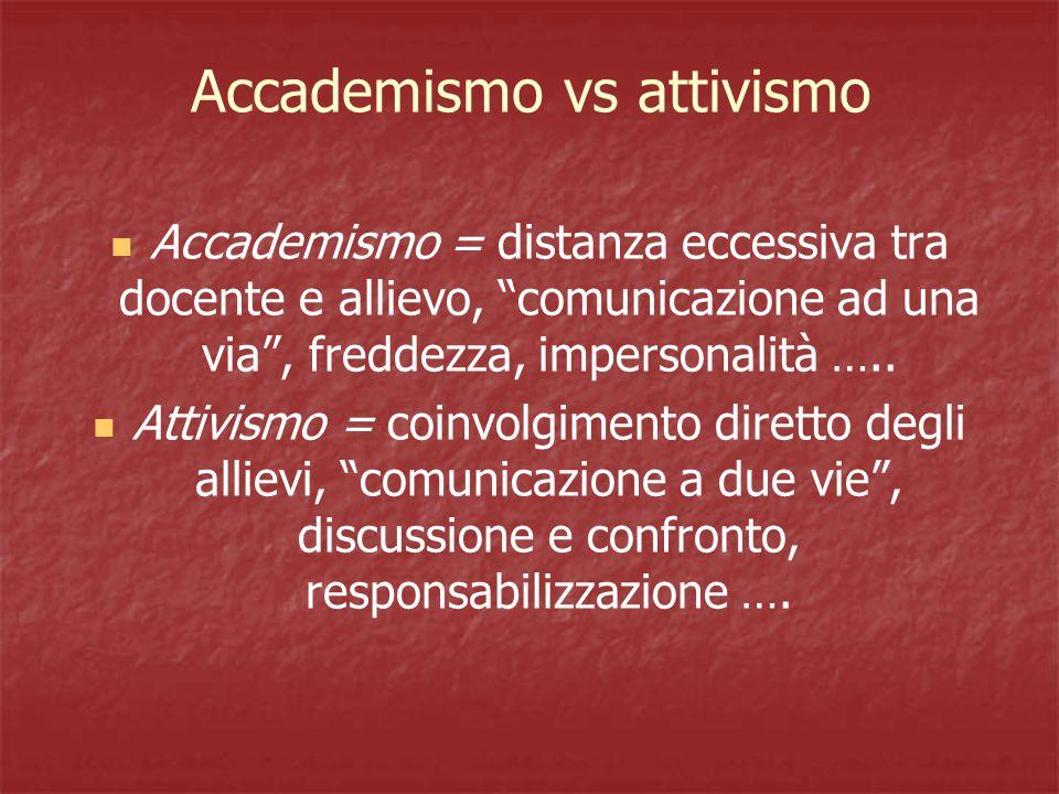 Accademismo vs attivismo Accademismo = distanza eccessiva tra docente e allievo, comunicazione ad una via , freddezza, impersonalità …..