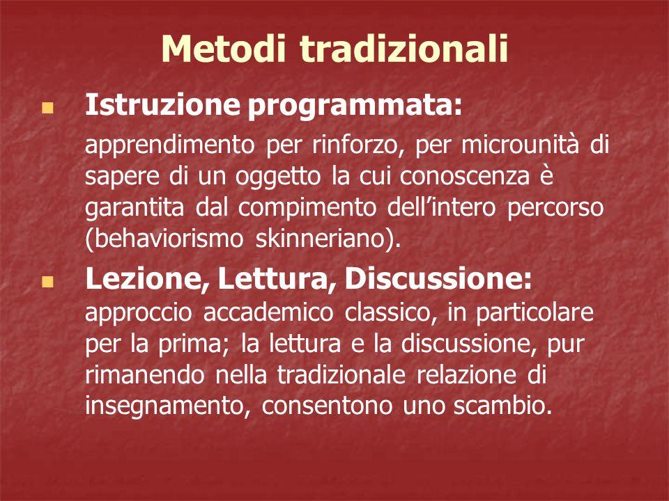 Metodi tradizionali Istruzione programmata: apprendimento per rinforzo, per microunità di sapere di un oggetto la cui conoscenza è garantita dal compimento dell'intero percorso (behaviorismo skinneriano).