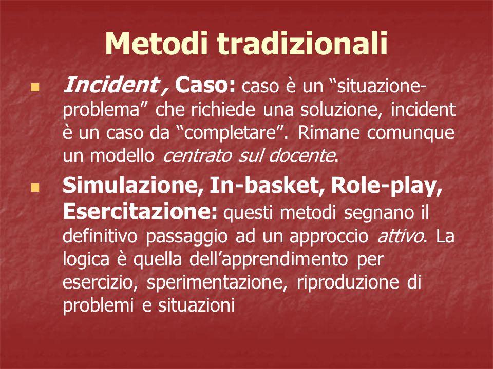 Metodi tradizionali Incident, Caso: caso è un situazione- problema che richiede una soluzione, incident è un caso da completare .