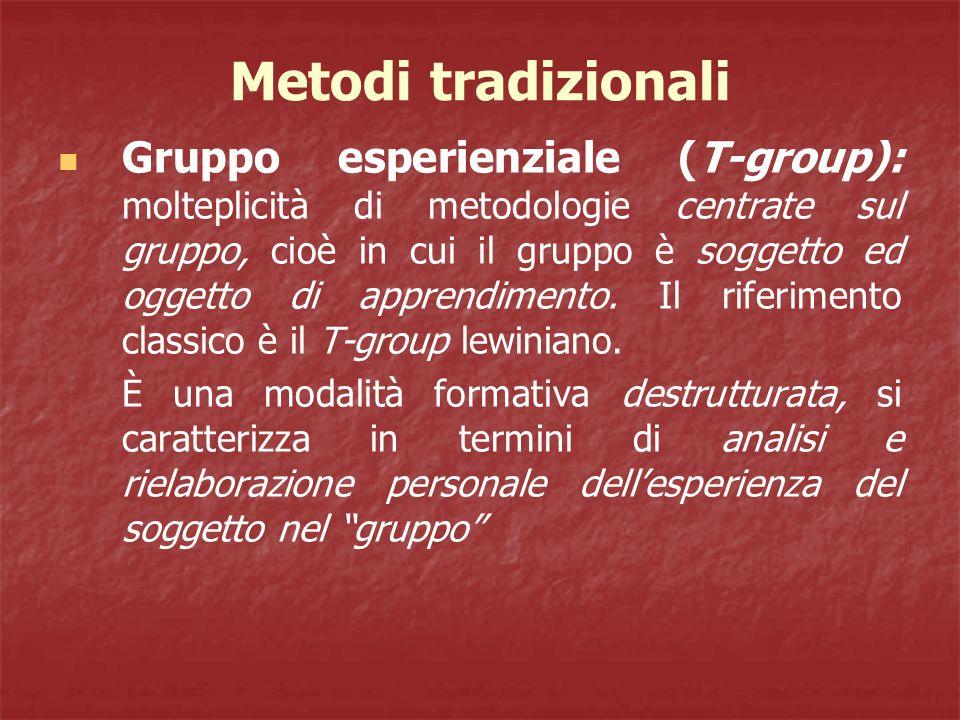 Metodi tradizionali Gruppo esperienziale (T-group): molteplicità di metodologie centrate sul gruppo, cioè in cui il gruppo è soggetto ed oggetto di apprendimento.