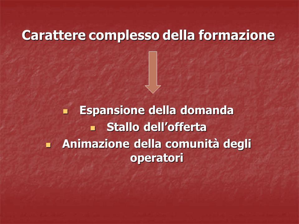 Carattere complesso della formazione Espansione della domanda Espansione della domanda Stallo dell'offerta Stallo dell'offerta Animazione della comunità degli operatori Animazione della comunità degli operatori