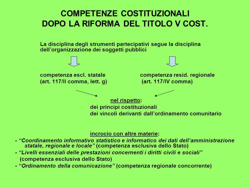 COMPETENZE COSTITUZIONALI DOPO LA RIFORMA DEL TITOLO V COST.