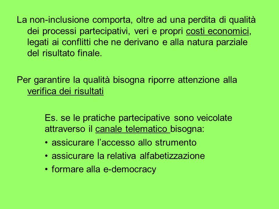 La non-inclusione comporta, oltre ad una perdita di qualità dei processi partecipativi, veri e propri costi economici, legati ai conflitti che ne derivano e alla natura parziale del risultato finale.