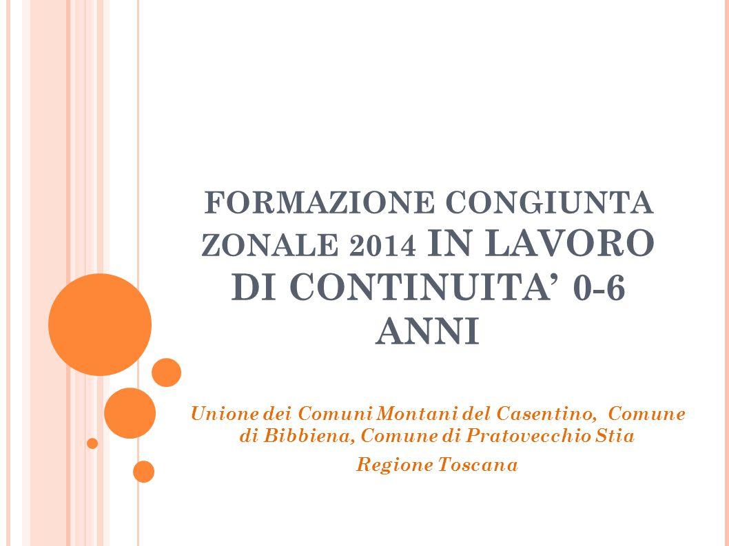 FORMAZIONE CONGIUNTA ZONALE 2014 IN LAVORO DI CONTINUITA' 0-6 ANNI Unione dei Comuni Montani del Casentino, Comune di Bibbiena, Comune di Pratovecchio