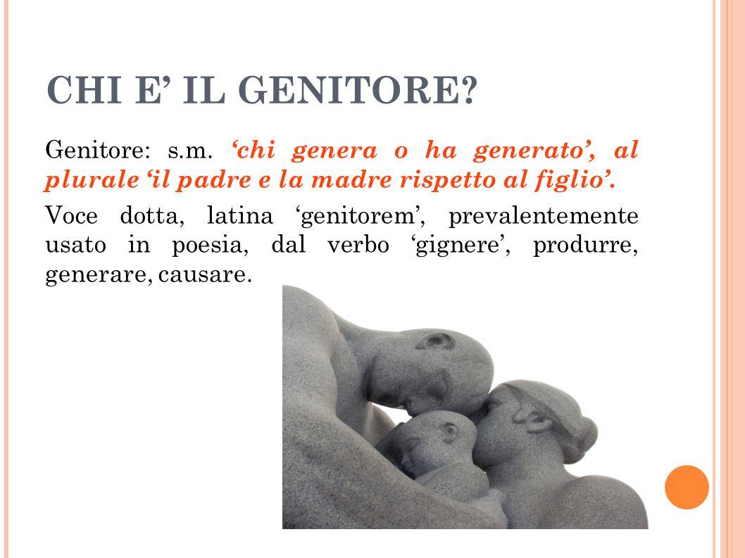 CHI E' IL GENITORE? Genitore: s.m. 'chi genera o ha generato', al plurale 'il padre e la madre rispetto al figlio'. Voce dotta, latina 'genitorem', pr