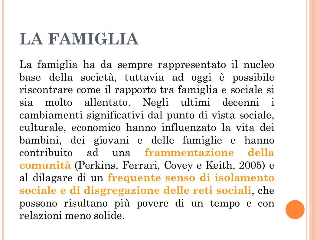 LA FAMIGLIA La famiglia ha da sempre rappresentato il nucleo base della società, tuttavia ad oggi è possibile riscontrare come il rapporto tra famigli