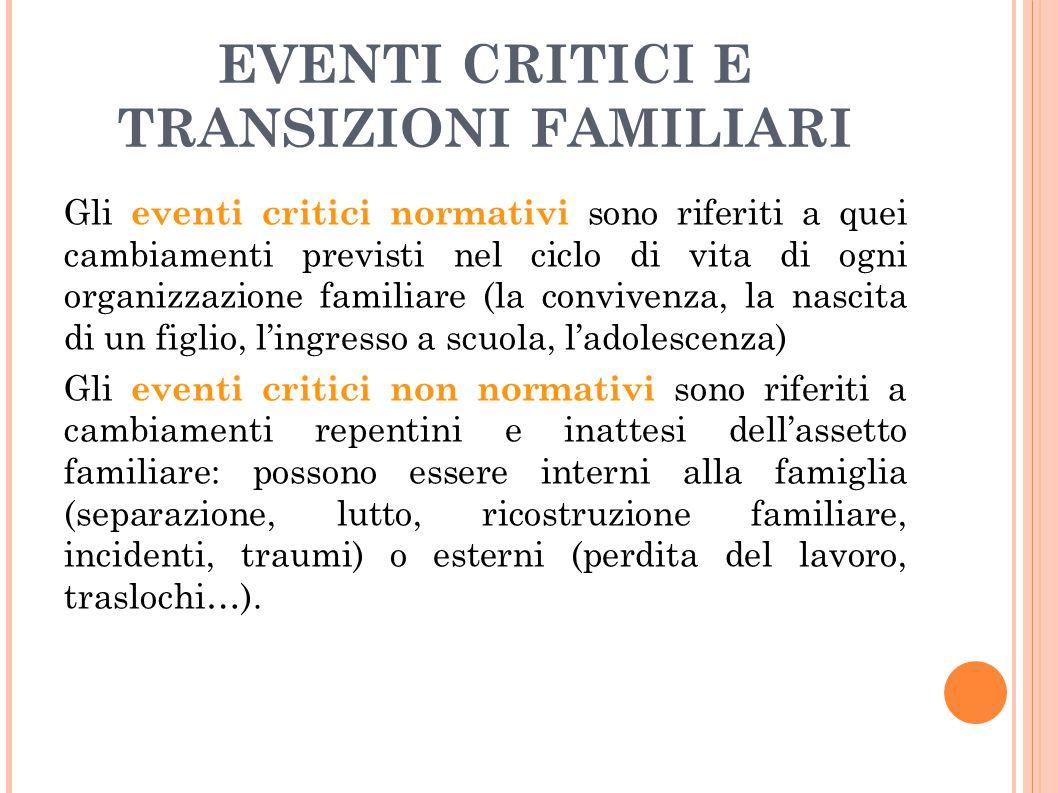EVENTI CRITICI E TRANSIZIONI FAMILIARI Gli eventi critici normativi sono riferiti a quei cambiamenti previsti nel ciclo di vita di ogni organizzazione