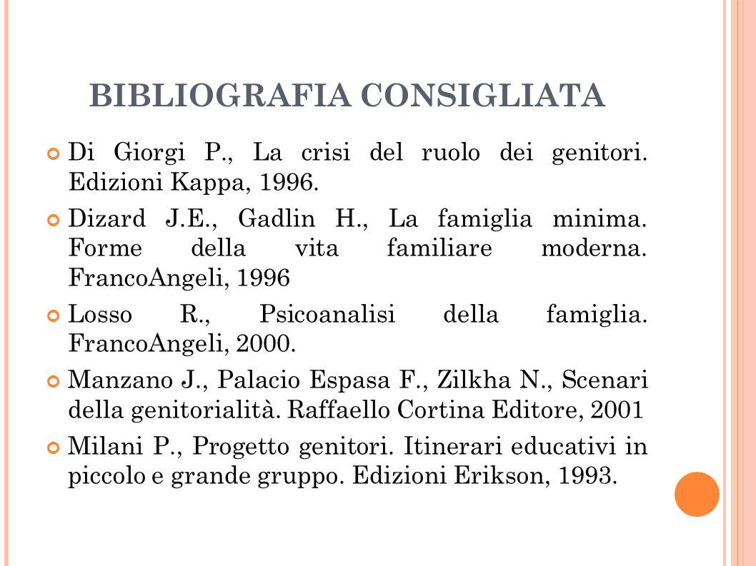 BIBLIOGRAFIA CONSIGLIATA Di Giorgi P., La crisi del ruolo dei genitori. Edizioni Kappa, 1996. Dizard J.E., Gadlin H., La famiglia minima. Forme della