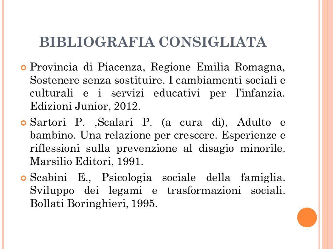BIBLIOGRAFIA CONSIGLIATA Provincia di Piacenza, Regione Emilia Romagna, Sostenere senza sostituire. I cambiamenti sociali e culturali e i servizi educ