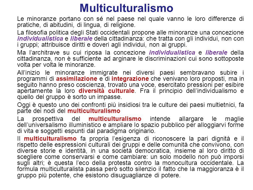 Multiculturalismo Cultural maintenance: preservazione delle culture L'autorizzazione alle differenze di gruppo – la concessione di conservare la propria identità culturale – trascura il fatto che i contenuti dell'identità vengono definiti da una frazione del gruppo, non dalla sua totalità.