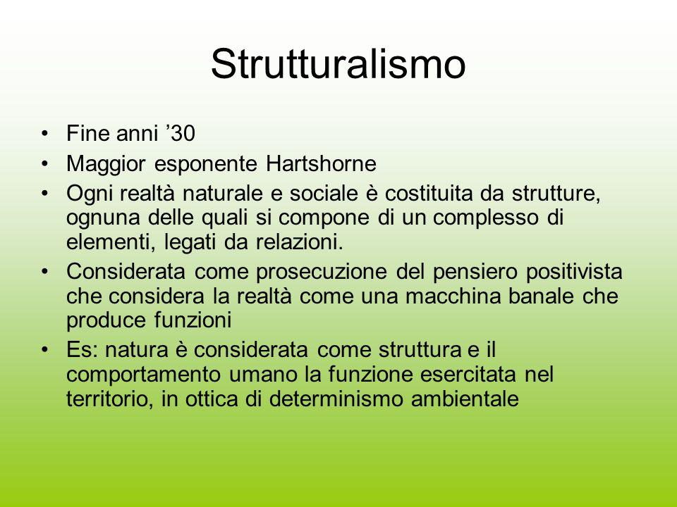 Strutturalismo Fine anni '30 Maggior esponente Hartshorne Ogni realtà naturale e sociale è costituita da strutture, ognuna delle quali si compone di u