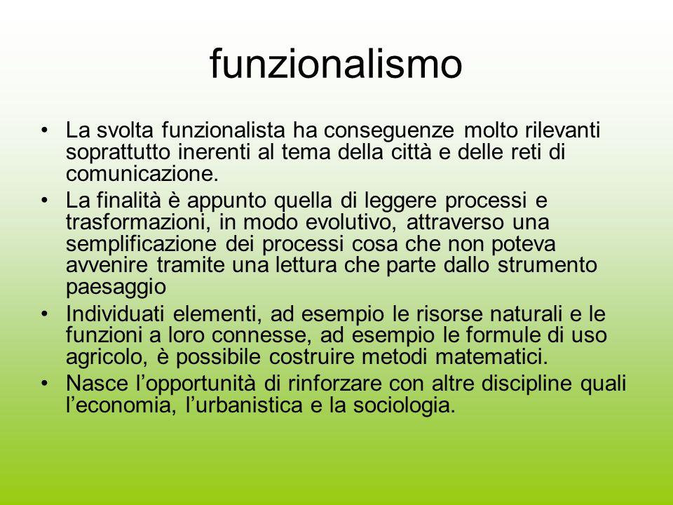 funzionalismo La svolta funzionalista ha conseguenze molto rilevanti soprattutto inerenti al tema della città e delle reti di comunicazione. La finali