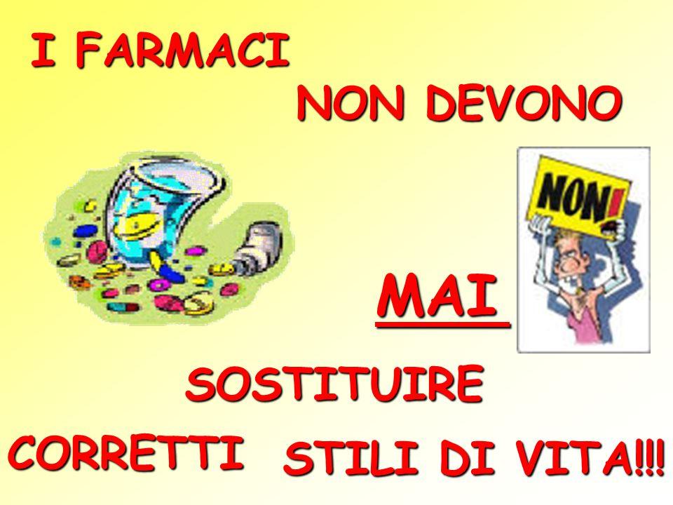 I FARMACI NON DEVONO MAI SOSTITUIRE CORRETTI STILI DI VITA!!!