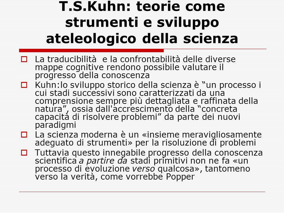 T.S.Kuhn: teorie come strumenti e sviluppo ateleologico della scienza  La traducibilità e la confrontabilità delle diverse mappe cognitive rendono po