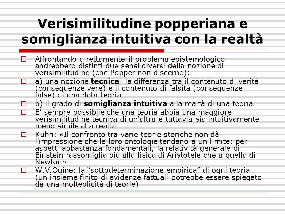 Verisimilitudine popperiana e somiglianza intuitiva con la realtà  Affrontando direttamente il problema epistemologico andrebbero distinti due sensi
