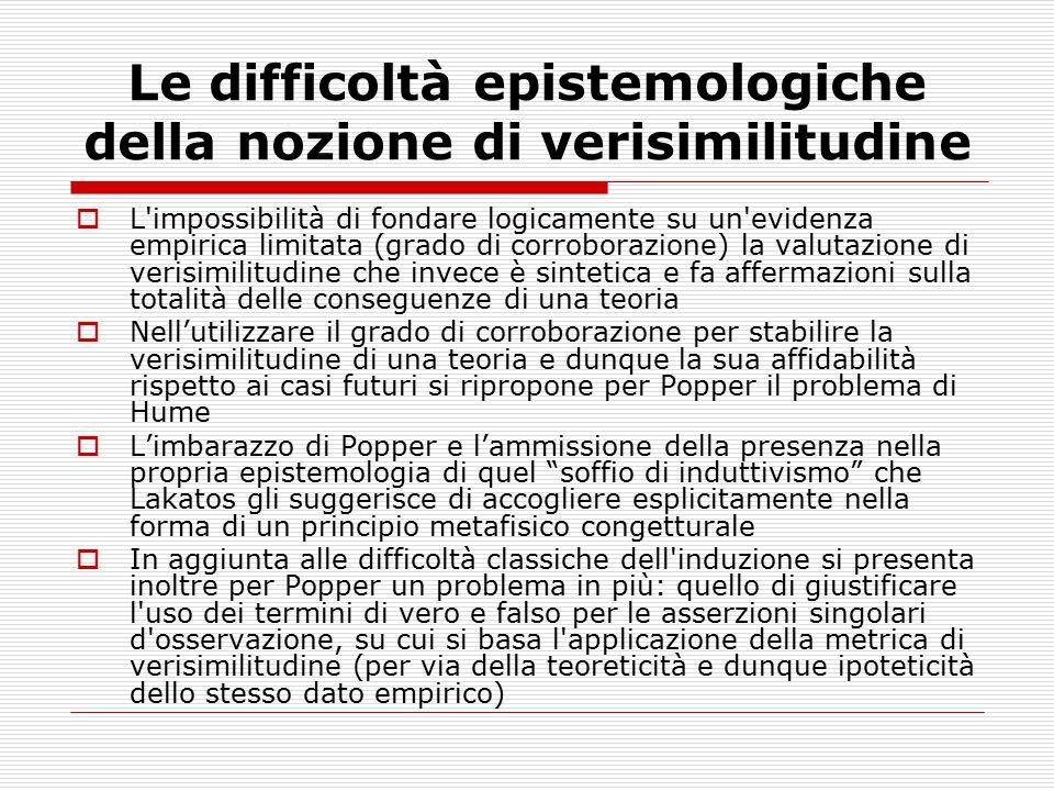 Le difficoltà epistemologiche della nozione di verisimilitudine  L'impossibilità di fondare logicamente su un'evidenza empirica limitata (grado di co