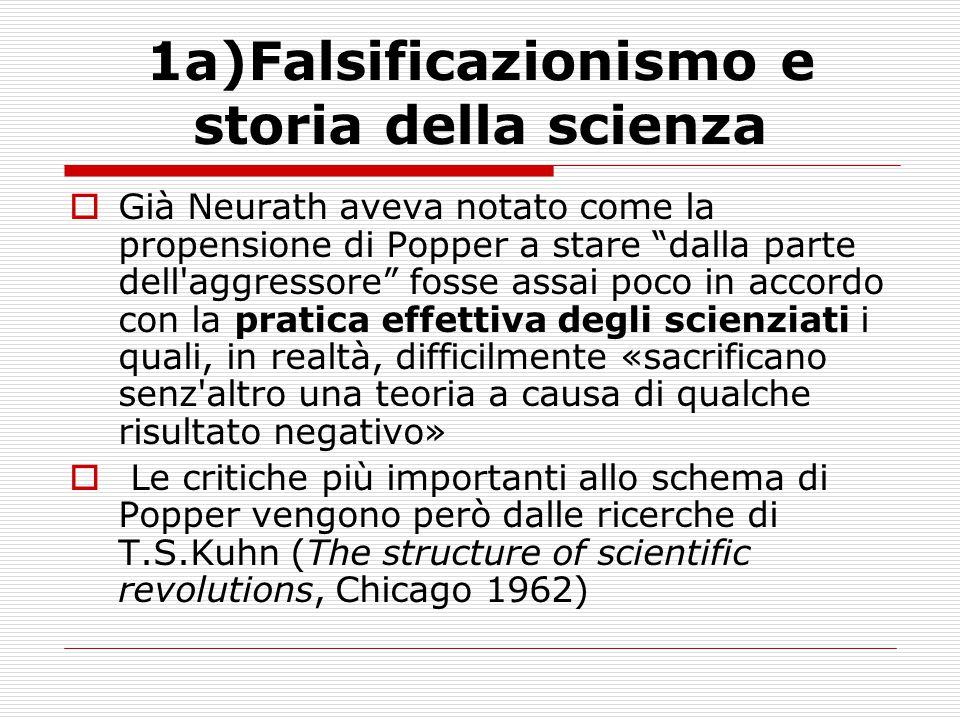 """1a)Falsificazionismo e storia della scienza  Già Neurath aveva notato come la propensione di Popper a stare """"dalla parte dell'aggressore"""" fosse assai"""