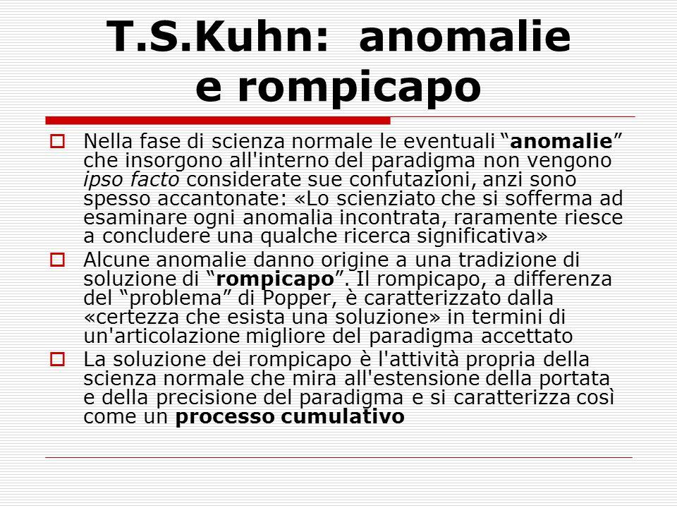 """T.S.Kuhn: anomalie e rompicapo  Nella fase di scienza normale le eventuali """"anomalie"""" che insorgono all'interno del paradigma non vengono ipso facto"""