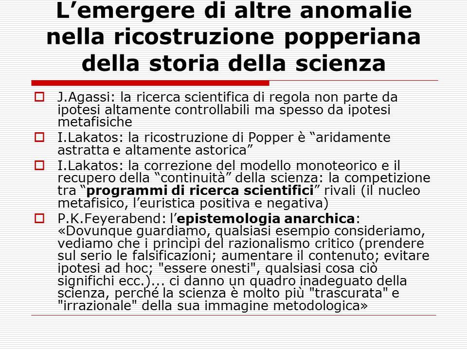 L'emergere di altre anomalie nella ricostruzione popperiana della storia della scienza  J.Agassi: la ricerca scientifica di regola non parte da ipote