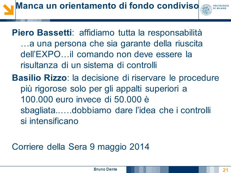 Bruno Dente Manca un orientamento di fondo condiviso Piero Bassetti: affidiamo tutta la responsabilità …a una persona che sia garante della riuscita d
