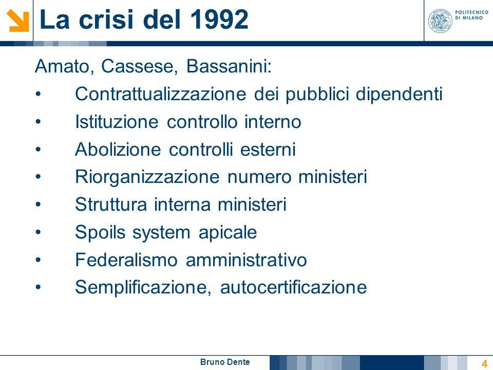 Bruno Dente 4 La crisi del 1992 Amato, Cassese, Bassanini: Contrattualizzazione dei pubblici dipendenti Istituzione controllo interno Abolizione contr