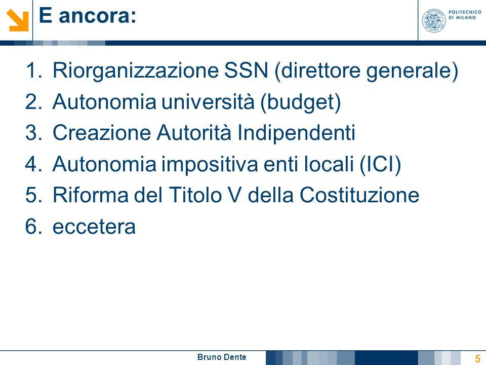 Bruno Dente E ancora: 1.Riorganizzazione SSN (direttore generale) 2.Autonomia università (budget) 3.Creazione Autorità Indipendenti 4.Autonomia imposi