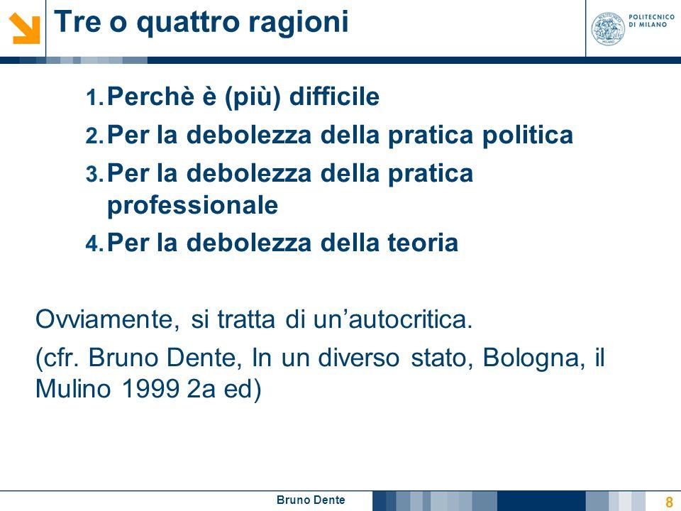 Bruno Dente Tre o quattro ragioni 1. Perchè è (più) difficile 2. Per la debolezza della pratica politica 3. Per la debolezza della pratica professiona