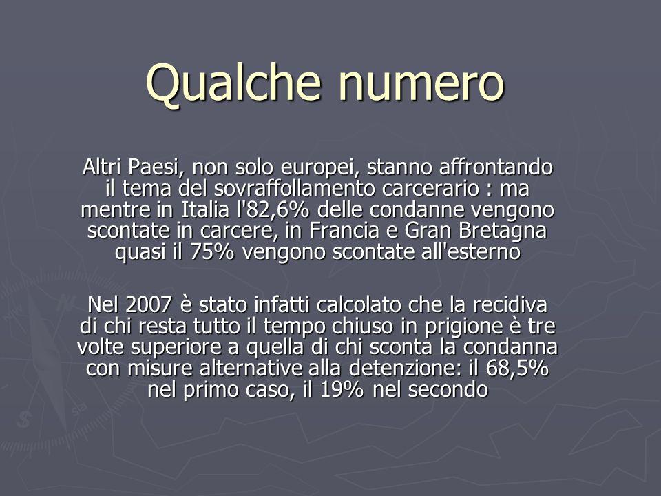 Qualche numero Altri Paesi, non solo europei, stanno affrontando il tema del sovraffollamento carcerario : ma mentre in Italia l'82,6% delle condanne