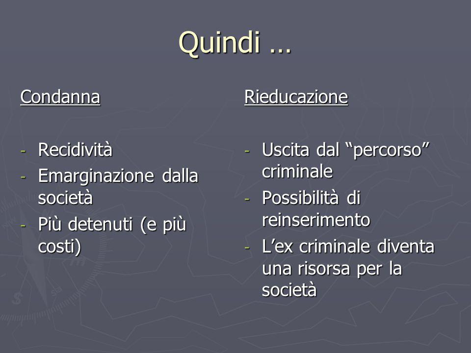 """Quindi … Condanna - Recidività - Emarginazione dalla società - Più detenuti (e più costi) Rieducazione - Uscita dal """"percorso"""" criminale - Possibilità"""