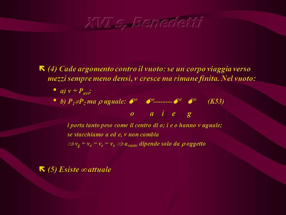 Conseguenze Conseguenze ë(1) Peso = Risultante P ass -F A sempre; P ass ha senso fisico solo nel vuoto ë(2) Se P 1 = P 2 il più piccolo è più veloce (conta il volume) ë(3) Moto su/giù non è naturale.