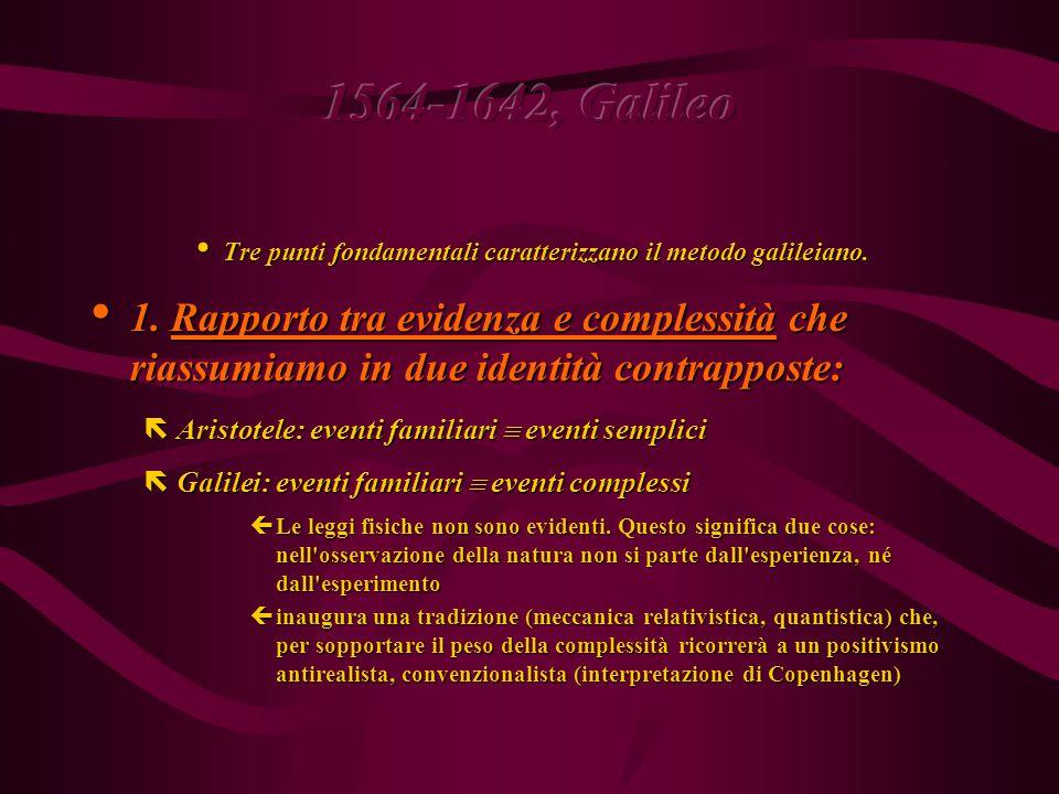 1564-1642, Galileo Geometrizzazione dello spazio e dissoluzione del cosmo Geometrizzazione dello spazio e dissoluzione del cosmo ëLuogo comune: metodo galileiano = metodo sperimentale: si parte da Esperimento e si giunge univocamente ad una Legge ëMa questo è il metodo aristotelico.